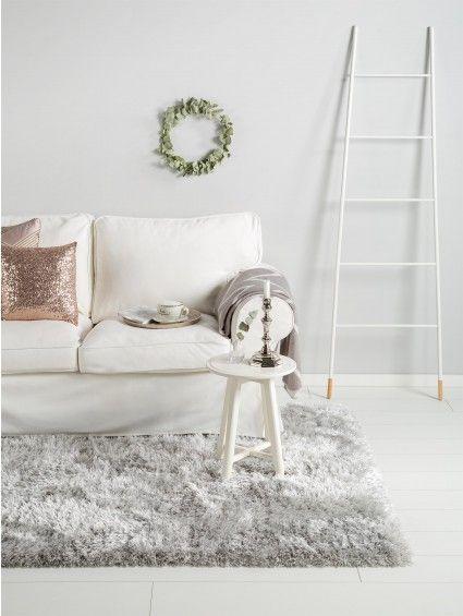 tapis a poils longs lea gris 200x290 cm
