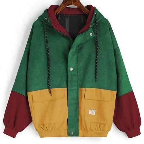 Women Jacket Long Sleeve Corduroy Zipper Color Block Patchwork - D red / XL
