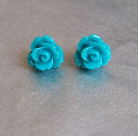 Turquoise resin rose earrings