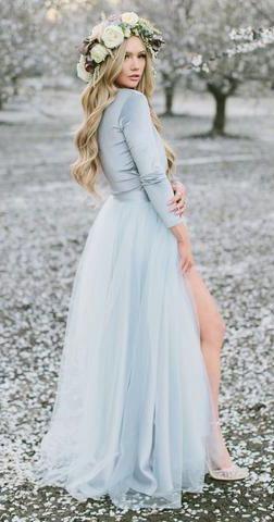 Dusty Blue Wedding Dresses,Country Weding Dresses,Bohemian Wedding ...