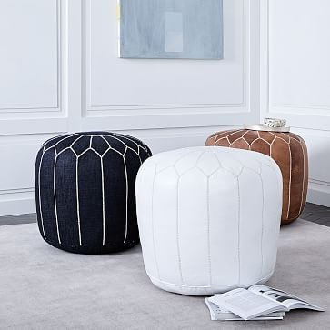Moroccan Leather Pouf Medium Moroccan Leather Pouf Leather Pouf Moroccan Pouf