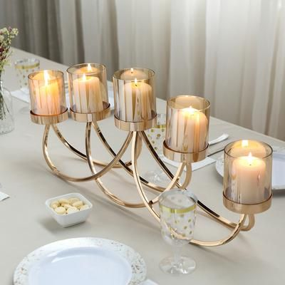 5 Arms 25 Matte Black Gold Metal Tealight Votive Candle Holder Centerpiece Candelabra Candle Holders Metal Votive Candle Holders Candelabra Centerpiece