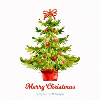 Dibujos De Arboles De Navidad Pintados.Hermoso Arbol De Navidad De Acuarela Art Acuarela De