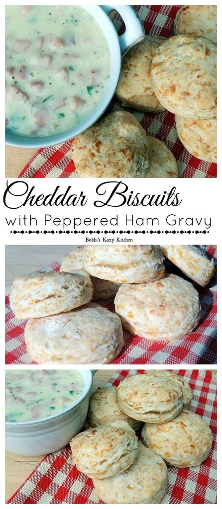 Cheddar Biscuits with Peppered Ham Gravy - The quintessential country breakfast updated with creamy peppered ham gravy and cheddar studded biscuits. It doesn't get much better than this! | from www.bobbiskozykitchen.com