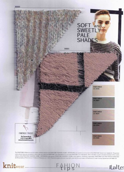 soft bulky knits in pale shades for AW 18-19 from @italtexsrl  Knitwear fabric trend book