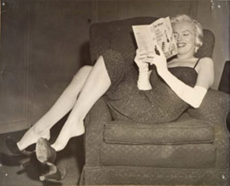 Marilyn reading before (or after) a party
