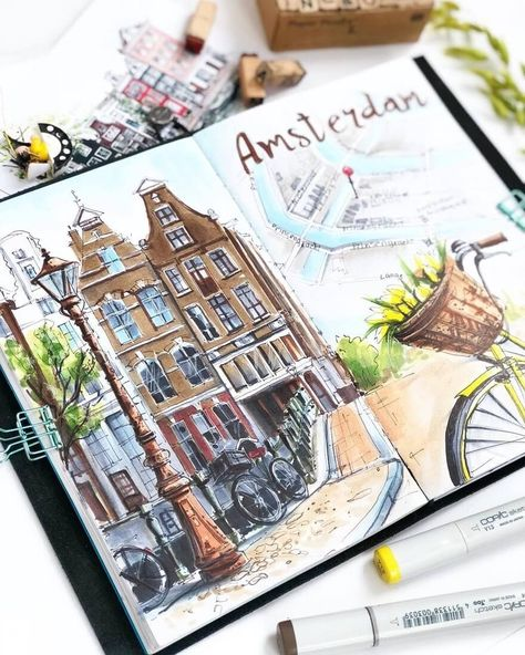 Travel Diary Sketches and Moleskine Drawings. By Irina … City Sketches Amsterdam. Travel Diary Sketches and Moleskine Drawings. By Irina Shelmenko. journal Travel Diary Sketches and Moleskine Drawings Voyage Sketchbook, Travel Sketchbook, Arte Sketchbook, Sketchbook Ideas, Moleskine Sketchbook, Sketchbook Inspiration, Layout Inspiration, Sketch Journal, Drawing Journal