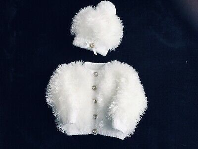 New White 3-6 months Hand Knitted Baby Girls Cardigan /& Hat