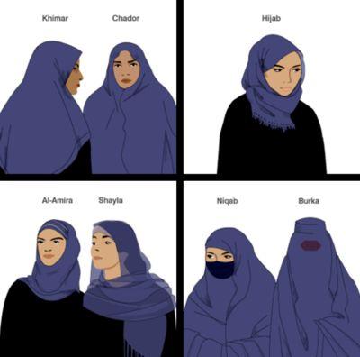 The differences between the khimar, chador, hijab, al-amira, shayla, niqab, and burka.