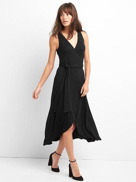 dcf7637a2ed1 Gap Womens Softspun Sleeveless Wrap Dress True Black Size L ...