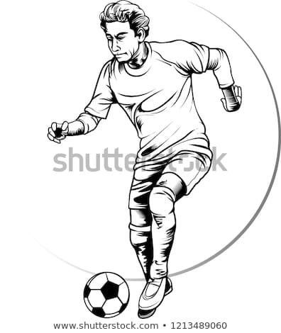 Vector Illustration The Soccer Player Is In Action And Ready To Kick The Ball Into The Goal Football Player Drawing Football Players Football Drawing