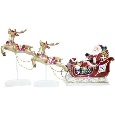 Fraser Hill Farm Indoor Outdoor Oversized Christmas Decor With Long Lasting Led Lights Santa Sleigh And Flying Reindeer 3 Piece Set Walmart Com Flying Reindeer Fun Christmas Decorations Reindeer And Sleigh