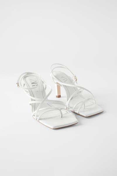 Toe sandals, Leather high heels
