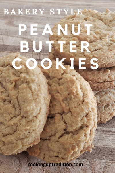 Bakery style peanut butter cookies that are soft and moist with a chewy center. Easy, fast to make, and turn out perfect every time. Click for the recipe! #peanutbuttercookies #bakerystylecookies