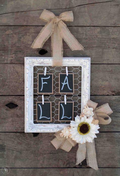 Shabby Chic Fall Wreath Tutorial! #shabbychic #vintagechic #fall #autumn #wreath #tutorial #DIY #frame #burlap #chalkboard #thepaintedhinge
