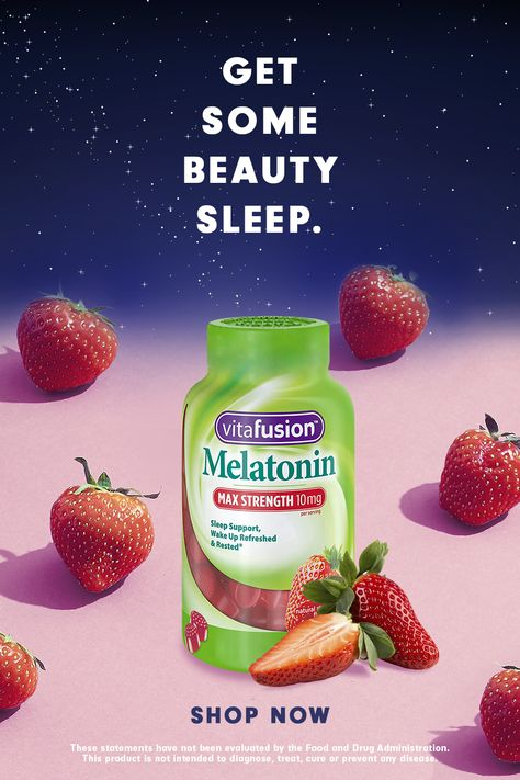 Wake up refreshed with vitafusion Max Strength Melatonin Sleep Support Gummy Supplement. With melatonin benefits, you can get your beauty sleep. And the natural strawberry flavor tastes yummy.