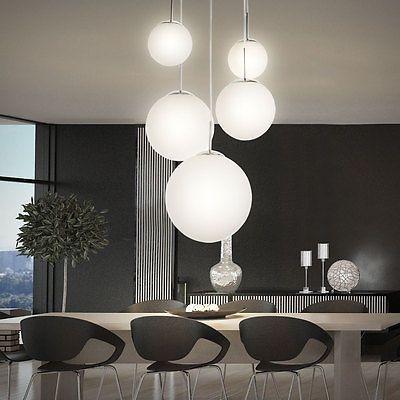 Luxus Decken Beleuchtung Glas satiniert Wohn Ess Zimmer Leuchte Kristalle klar