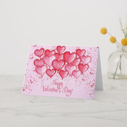 Happy Valentine S Day Watercolor Heart Balloons Holiday Card