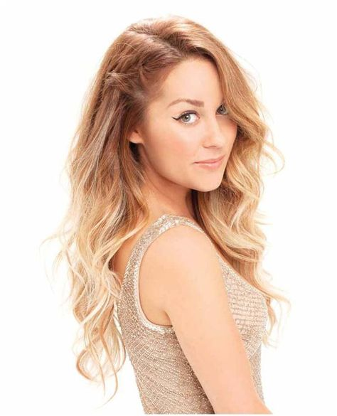 Lauren Conrad, love her hair! Maybe I'll do a strawberry blonde to light blonde one day... Such a soft look.
