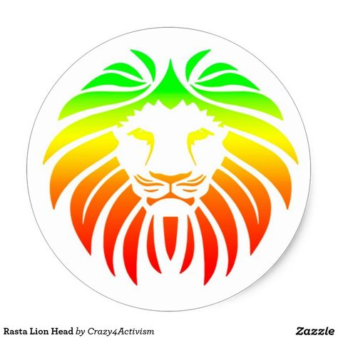 Rasta lion head classic round sticker rasta lion round stickers and lions