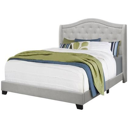 I 5967q Queen Size Bed Light Grey Velvet With Chrome Bed Frame