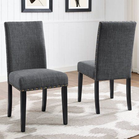 Roundhill Furniture Biony Fabric Nail Head Dining Chair Set Of 2