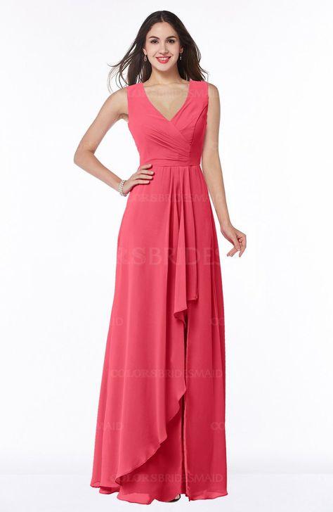 9976c49e77f9 ColsBM Melody Glamorous A-line Sleeveless Zipper Chiffon Floor Length Plus  Size Bridesmaid Dresses #colsbm #bridesmaids #bridesmaiddress #weddings
