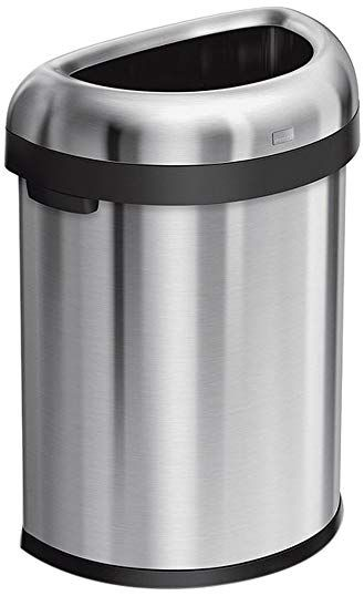 Simplehuman 80 Liter 21 1 Gallon Commercial Heavy Gauge Stainless Steel Extra Large Semi Round Open Trash Can Simplehuman Brushed Stainless Steel Trash Can
