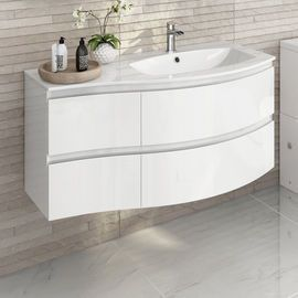 1040mm Amelie High Gloss White Curved Vanity Unit Right Hand Wall Hung Bathroom Vanity Units Vanity Units Trendy Bathroom Tiles