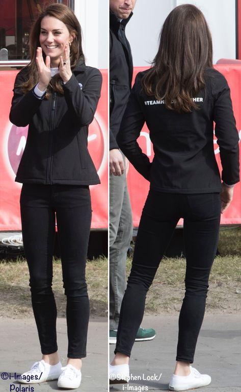 Apr London Marathon - Kate wore a Regatta Professional Softshell Jacket with jeans, her Superga Cotu Sneakers, the Kiki McDonough Lauren leaf earrings with pavé diamonds. ©i-Images/Polaris