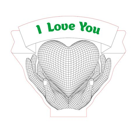 Love Hands With Heart 3d Illusion Lamp Plan Vector File For Laser And Cnc 3bee Studio 3d Illusion Lamp 3d Illusions Illusions