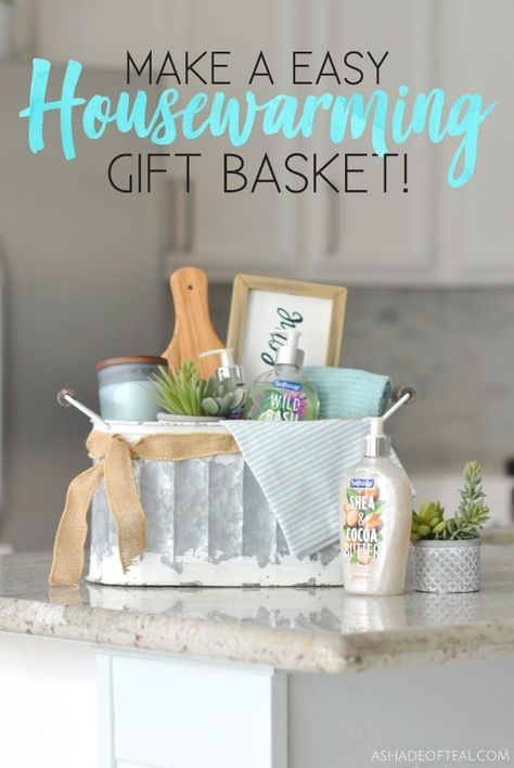 Easy Housewarming Gift Basket! Tips and Tricks for making a beautiful Housewarming Gift Basket with both pretty and practical items including the new Softsoap® Décor Collection® liquid hand soaps. #ad #WelcometoSoftSoap #SoftSoapPartner