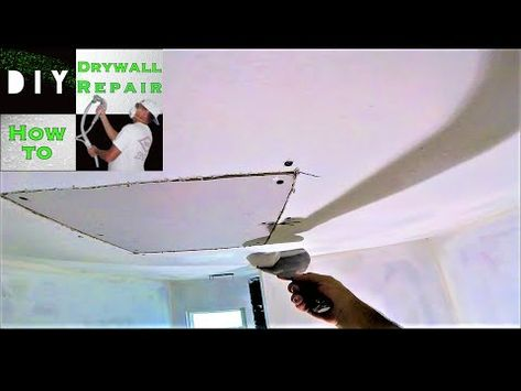 Water Damage Drywall Ceiling Repair Adding A Furring Strip Drywall Installation Fiberglass Mesh Pt1 Youtube How To Patch Drywall