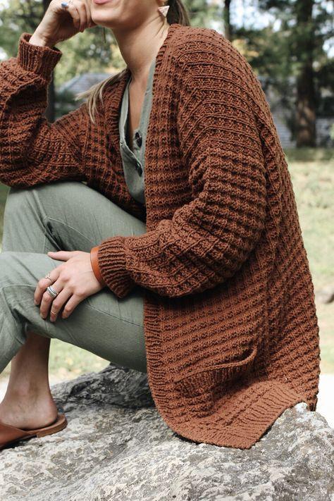 Campsite Waffle Cardigan Pattern — Two of Wands – Brooke Henderson - Crochet Slouchy Cardigan, Knit Cardigan Pattern, Chunky Cardigan, Sweater Knitting Patterns, Diy Knitting Cardigan, Crochet Cardigan Pattern Free Women, Black Cardigan, Gilet Crochet, Knit Crochet