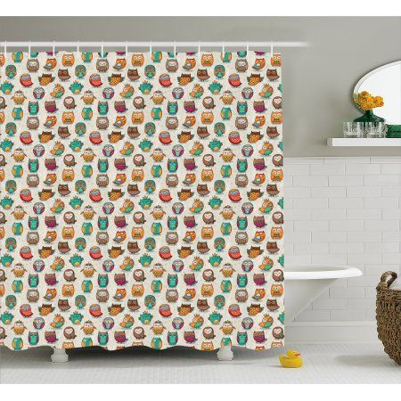 Owls Shower Curtain Cartoon Style Cheerful Animal Figures With Native Primitive Patterns Funny Childish Fabric B Primitive Bathrooms Owl Shower Bathroom Sets