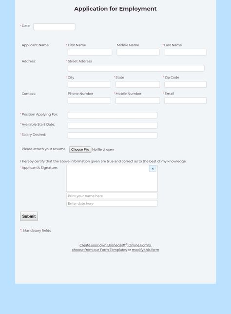 Application for Employment Form by Borneosoft Online Forms - enrollment form