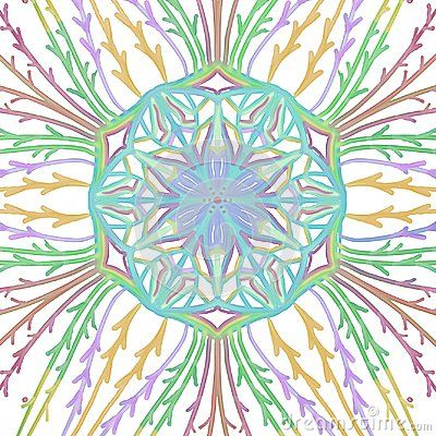 Symmetrical Watercolor Pattern With Vines And Center Flower Seal Abstract Star Or Flower Shapes With Branches Or Twig D Watercolor Pattern Abstract Watercolor