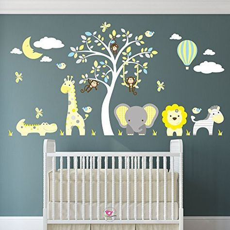 safari wall stickers featuring giraffe, elephant, lion, zebra
