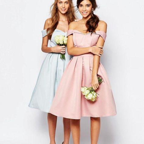 7be52336bcf Pretty Junior Cheap Knee-Length Off Shoulder Satin Blue Pink Short Bridesmaid  Dresses