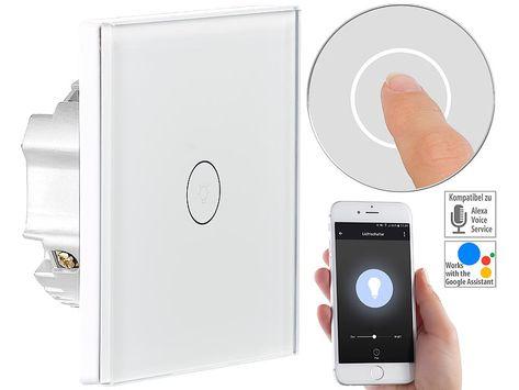 Wifi Lichtschalter Luminea Home Control Touch Lichtschalter Wlan Kompat Zu Amazon Alexa Google Assistant Bild 1 Lichtschalter Wifi Schalter Schalter