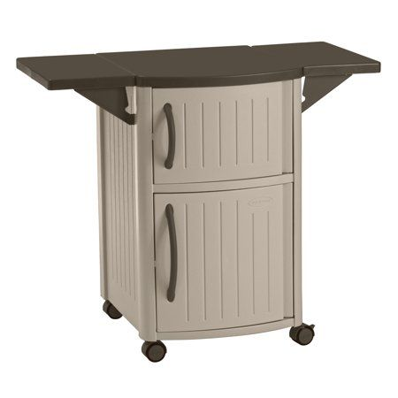 Suncast Resin Serving Station Patio Cabinet Light Taupe Dcp2000 Outdoor Grill Station Outdoor Bar Cart Storage Cabinets