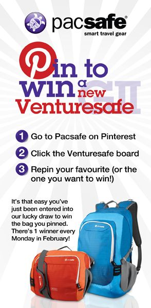 Pin-to-win a new Venturesafe GII bag you have re-pinned!   CONTEST NOW CLOSED