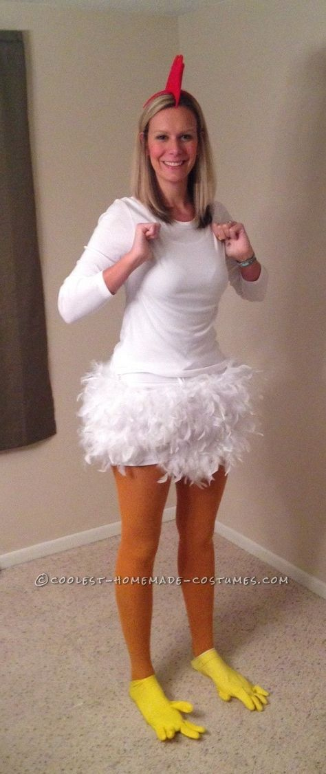 Homemade Chicken Costume for a 6 Foot Woman... Coolest Halloween Costume Contest