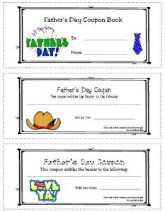 FatherS Day Coupons From Kids  FatherS Day Coupons  Crafts For