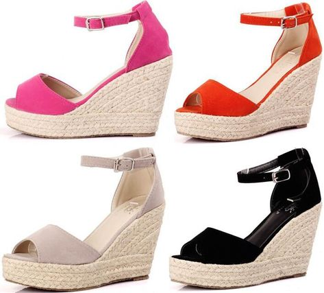 aeda80dd3391 Wedge sandals for ladies 2016 Elegant Fashion Women s Open Toe Straw Braid Wedges  Sandals