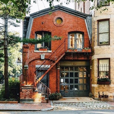 How cute is this red-brick house with grey windows! Love that big window. My dream house :) Beautiful Buildings, Beautiful Homes, Beautiful Places, Cute House, My House, Futuristic Architecture, Architecture Design, Boston Architecture, Historical Architecture