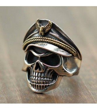 Sterling Silver Eagle Head Skull Biker Ring