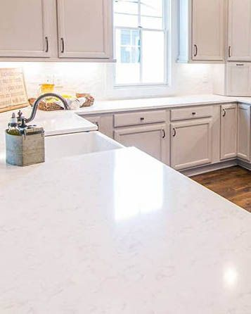 Cashmere Carrara Is A Subtly Gray Veined Polished Quartz That Adds