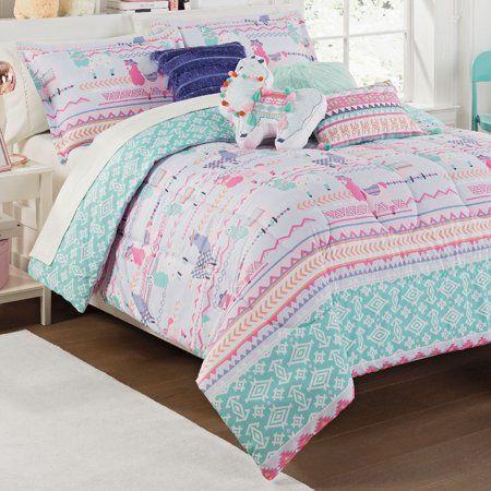 Waverly Kids La La Llama Reversible Comforter Set Walmart Com In 2020 Comforter Sets Comforters Eclectic Bedding