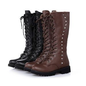 3c5cbeef2aa Women s Motorcycle Boots Rivet Studded Lace Up Low Heels Punk Goth Riding  Boots